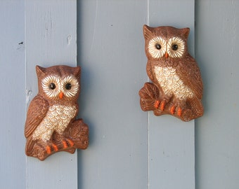 2 - 1980s Vintage Foam Craft Barn Owls Wall Decor - Wall Hanging