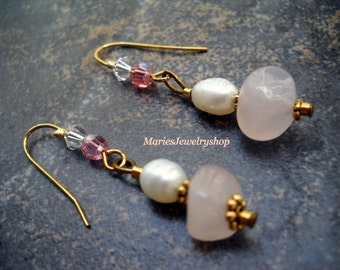 Earrings handmade with Rose Quartz Beads, Fresh Water Pearls and Swarovski Crystals  FREE U.S.A. SHIPPING