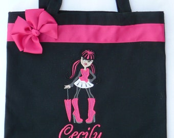 Personalized Tote Bag, Personalized Tote, Monster high Tote Bag, Monster Tote, Monster High Gift, Personalized Monster High