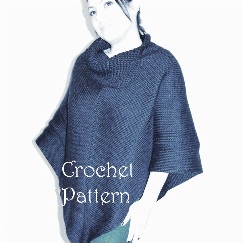 Free Crochet Patterns For Cowl Neck Poncho : Crochet Poncho Pattern Cowl Neck Poncho Womens Poncho
