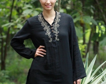 SALE 29 USD--B010--Cotton blouse with flower embroidery .