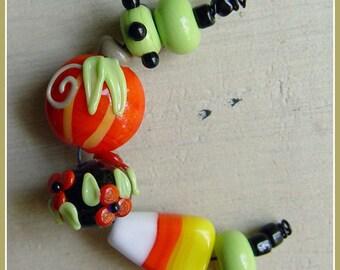 Pumpkin Mix Halloween Lampwork Bead Set