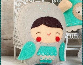 PDF. Owl child. Plush Doll Pattern, Softie Pattern, Soft felt Toy Pattern.