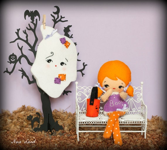 PDF. Halloween Ghost doll with mask and bag .Plush Doll Pattern, Softie Pattern, Soft felt Toy Pattern.