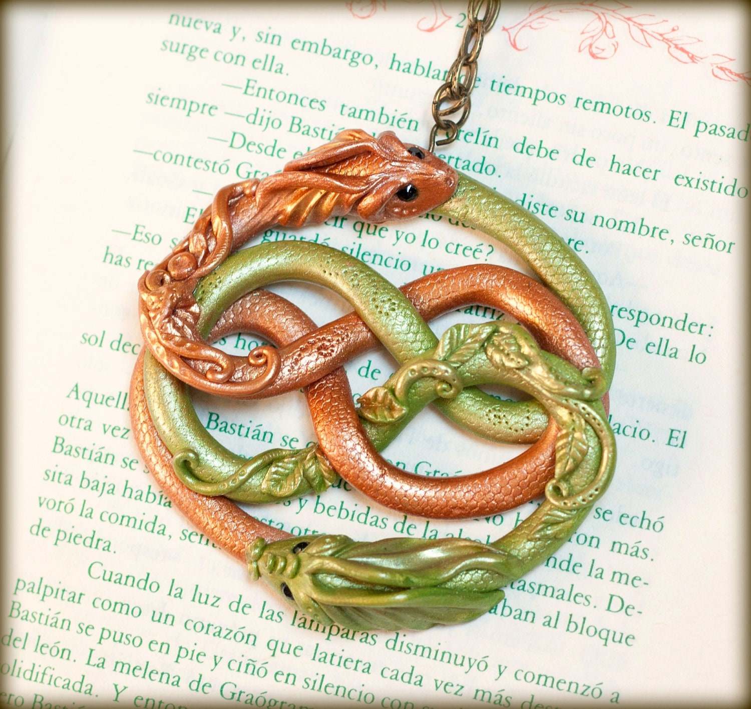 Auryn Fuljur Dragon Wooden Necklace The Neverending Story