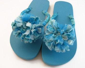 Turquoise Flip Flops Decorated Fabric Flower Flip Flops Summer Beach Flip Flops