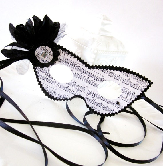 Black and White Sheet Music Masquerade Mask with Rhinestone & Flower Detail
