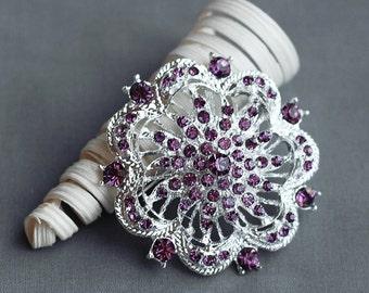 SALE Rhinestone Brooch Component Crystal Amethyst Purple Flower Hair Comb Shoe Clip Pin Wedding Cake Decoration BR153