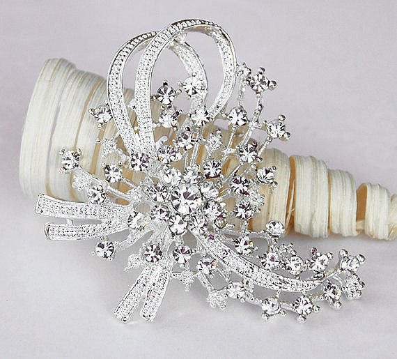 "Rhinestone Brooch Component 2.8"" Crystal Flower Bridal Hair Comb Shoe Clip Pin Wedding Cake Decoration Invitation BR062"