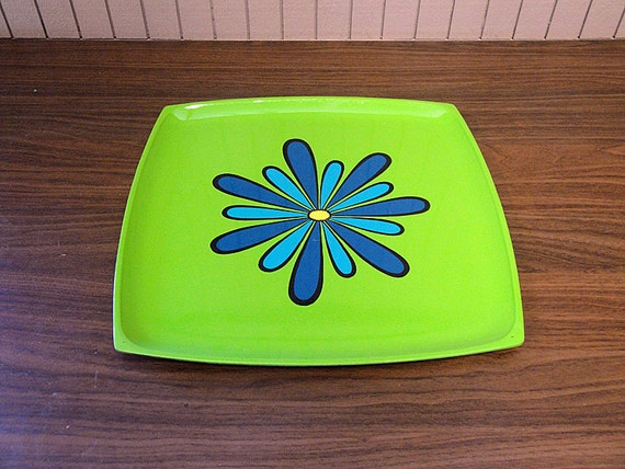 Mod Square Enameled Plastic Tray - Green with Blue Flower