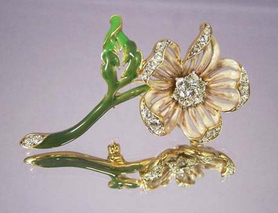 NOLAN MILLER Country Garden Floral Enamel Rhinestone Pin Brooch