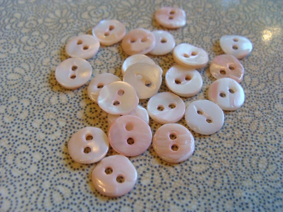 LAST SET Shimmery Goodness .... 20 Vintage Mother of Pearl Buttons .... Just a Hint of Pink