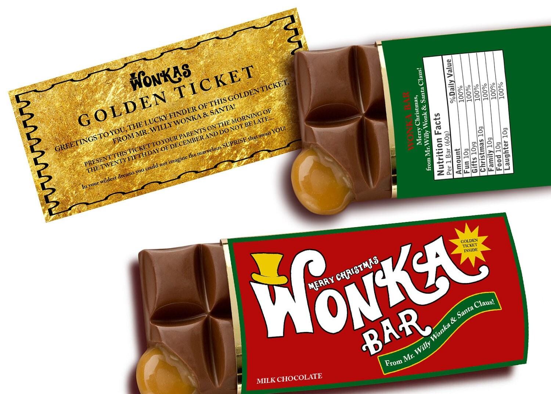 Sale WONKA BAR Christmas customize Printable digital chocolate