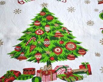 Vintage Christmas Linen Towel - Christmas Tree Greetings