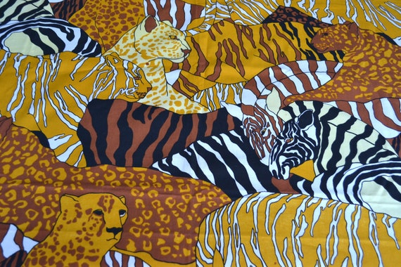Vintage Fabric - Jungle Cats and Zebras Screen Print - 48 x 72 Cotton Canvas