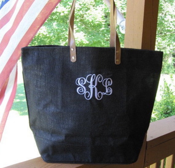 Monogrammed / Personalized Black-Lavender-Olive-Pink-Tangerine Large Eco Friendly Jute Tote Bag