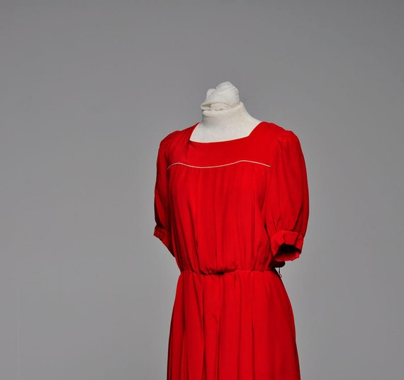 Vintage Cherry Red Silk Dress by Cassis // Sz Medium Large Vintage Dress