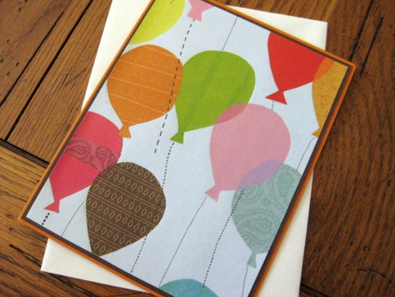 Bright Balloon Birthday handmade greeting card