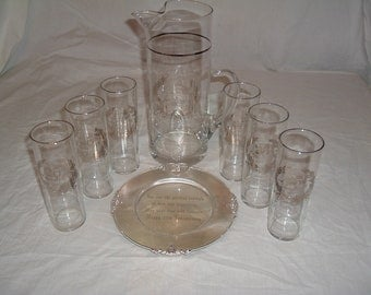 VINTAGE 25TH anniversary  pitcher glasses and plate