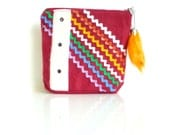 Rick Rack Pouch - BURGUNDY PASSION - Zippered - Handmade in USA