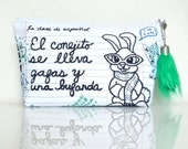 Note Book Paper Pouch - Spanish Class Bunny - Zippered - OOAK