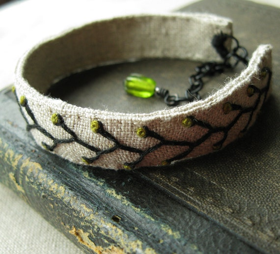 Embroidered Bracelet -  Vine in Black and Olive Green on Natural Linen