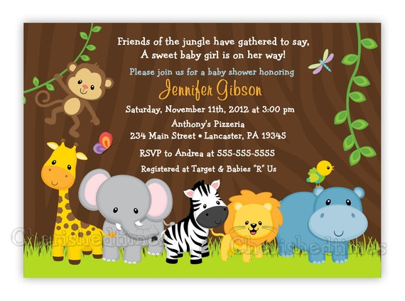 Baby Shower Invitations Jungle Theme with great invitation layout