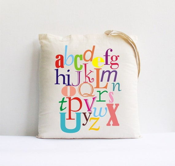 back to school rainbow colorful alphabet tote bag children kids gift clothing accessories abc letters print neon bright educational fun