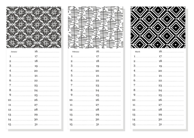 Birthday Calendar Printable Diy printable perpetual pdf