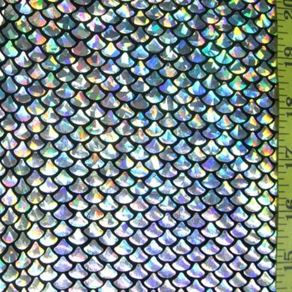 Items similar to silver small fish scale lycra fabric on etsy for Fish scale fabric