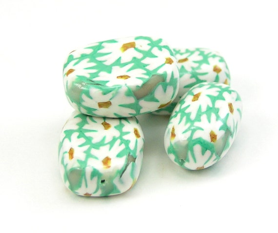 Polymer Clay Bead Set, White Flowers on Green Background, Handmade Polymer Clay Beads