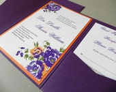Vintage Floral and Lace Wedding Invitation Suite for Garden Wedding, RSVP Card, 2 Insert Cards plus Envelopes