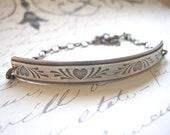 Hattie Bracelet:  Oxidized Sterling Silver Heart Bracelet/Half Cuff