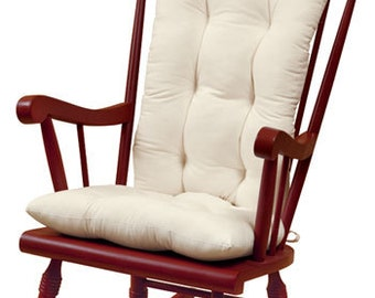 2 piece set of Rocking chair cushions, Tufted, white, navy, red, blue, natural, or choose other color