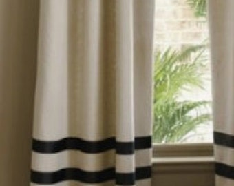 Pair of designer, high end,  linen curtains drapes, panels, Flax with black grosgrain ribbon