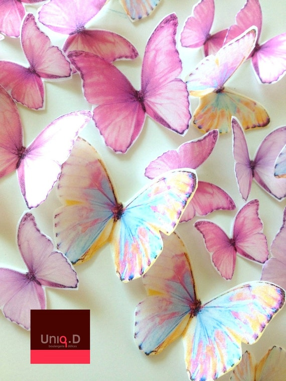 BUY 50 get 5 FREE precut rainbow butterflies decoration - Assorted set wedding cake toppers - Food Accessories by Uniqdots on Etsy