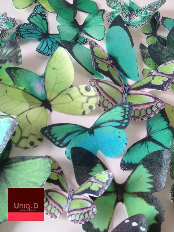 WENDY custom order 12 green emerald butterflies - edible cake decoration - emerald favors - emerald cake decoration by Uniqdots on Etsy