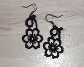 Earrings in Midnight Black Venise Light Lace Scroll Gothic Drop Design Wearable Art Dangle Flower Matching Design 2""