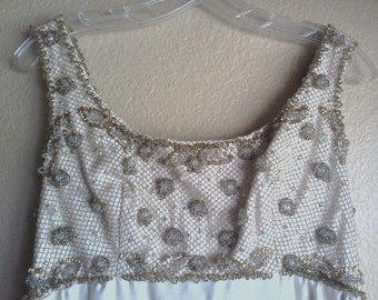 Vintage Beaded Gown Silk Size S 60s Ivory Gold Empire Waist