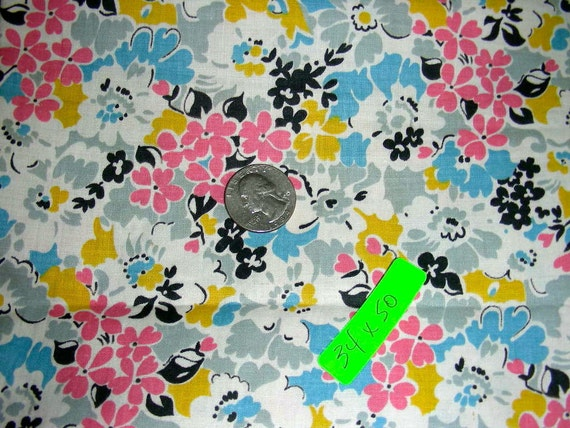 """Vintage 34 Inch Wide 30-40's Quilting or Apron Cotton Fabric - 34"""" wide x 50"""" long"""