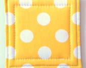 Coasters made w/ Designer fabric Dots in Yellow