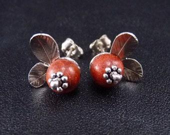 Cranberry earrings Sterling Silver Earrings Handmade Metalwork Original Unique