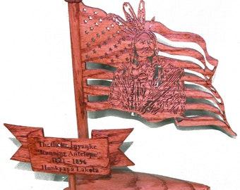 Oak American Flag with Running Antelope