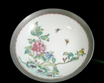 Vintage Nieman Marcas Handpainted Butterflies  Flowers Pewter Porcelain Collectable Bowl