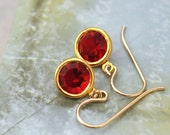 TINY RED DROPS - small gold filled earrings with ruby red Swarovski glass jewels