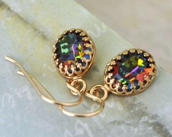 dainty gold filled earrings MYSTIC TOPAZ vintage Swarovski glass cab earrings