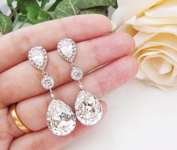 Wedding Jewelry Bridal Earrings Bridesmaid Earrings Dangle Earrings Swarovski Crystal and Cubic Zirconia Tear drop Earrings (E-B-0008)