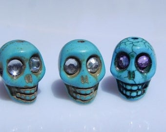 Three Blue Skull Beads with crystal eyes - Skeleton - Goth - Day of the Dead