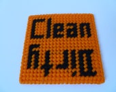 Halloween Orange and Black Dirty/Clean Dishwasher Magnet