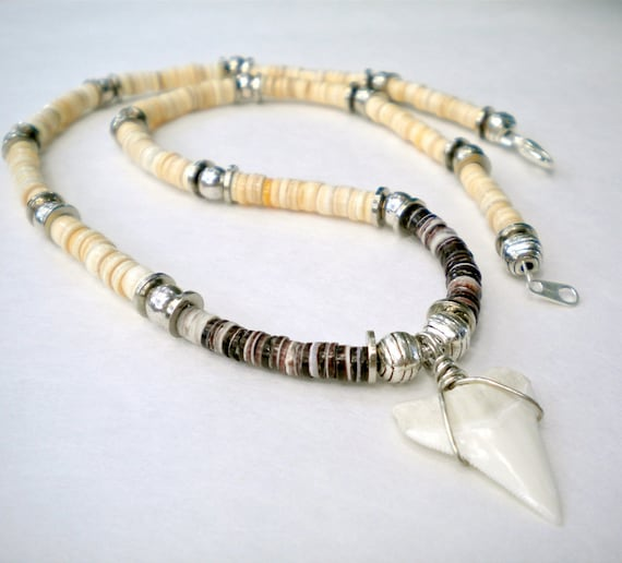 Necklace Shark Tooth Moonshell Heishi Beads - FREE SHIPPING